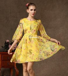 Wholesale Casual Spring Dresses Sexy retro fashion sleeved chiffon flowers new Women s Clothing