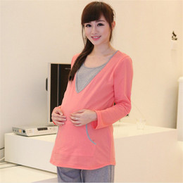 Wholesale Maternity Pajamas Set Good Quality Cotton Materials Long Sleeve Soft and Comfortable Three Colors Maternity Clothes