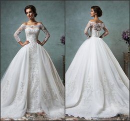 Wholesale 2016 Vintage Lace Wedding Dresses Off the Shoulder Long Sleeve with Tulle Detachable Bridal Gowns Covered Buttons Amelia Sposa Court Train