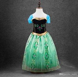 Wholesale In stock green costume dress for kids frozen girls dress costume fantasy princess dress elsa anna costume dress kids
