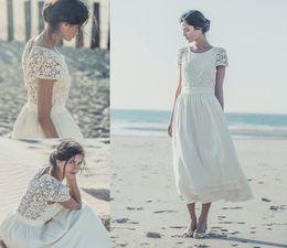 Wholesale Laure De Sagazan Bohemian Tea length Lace Beach Wedding Dresses Boho Round Neck Short Sleeves A Line Short Chiffon Bridal Gowns