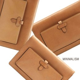 Wholesale MINIMALISM minimalist leather wallet card light brown leather bag mobile phone bag lady ML9A015
