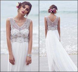 Wholesale 2016 Anna Campbell Luxury Wedding Dresses Boho Bridal Gowns with Crystal Sleeveless Chiffon Beach Floor Length Vestido De Novia BO8632