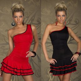 Wholesale Clubwear Women s Sexy Dance Strapless Dress Red Black Pub Design Dance Stage Wear