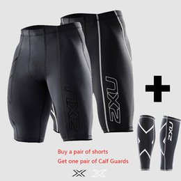 Wholesale 2xu Compression Men Black Tights Shorts Gym Outdoor sports Polyester lycra Bodybuilding Mens Basketball a FREE Pair Leggings
