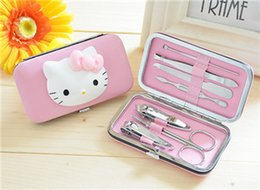 Wholesale 7 portable stainless steel nails manicure set with PU cute case travel mini nail cutter for gift hot sale