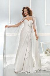 Wholesale Long Wrap Detachable Wedding Party Gowns Chiffon Sweetheart Pleats Draped And Beads Sash Sleeveless Zipper Sweep Train Women Birdal Dresses