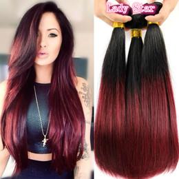 Discount ombre two tone color virgin hair 8A 3Bundles Burgundy Brazilian Ombre Hair Extensions Two Tone Burgundy Ombre Straight Brazilian Unprocessed Virgin Human Hair Weaving