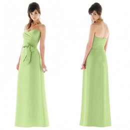 Wholesale charming lime green bridesmaids dress sweetheart neckline fitting a line full length ruched bodice satin evening gowns with bow sash