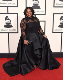Wholesale 2016 Grammy Awards Plus Size Celebrity Dresses With Long Sleeves Tasha Cobbs In Jewel Neckline Lace Prom Gowns Black Taffeta Evening Dress