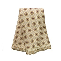 Wholesale High Quality Swiss voile lace Beige Khaki yards pack cotton African Embroidery lace For Wedding