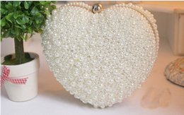Wholesale White Champagne Pearl Bridal Hand Bags For Wedding heart shape No Risking Wedding Accessories Pearls Floral Party Prom Evening Hand bags ZC