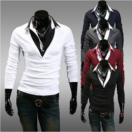 Wholesale 2014 new men s T shirts Korean Slim casual men leave two long sleeved tshirt a white T shirt fashion