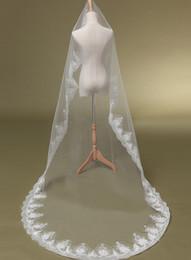 Wholesale Hot Sale One Layers Chapel Length Net Trim Bridal Veils Appliques Lace Edge For Cathedral Beach Wedding Veil N87