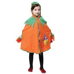 Wholesale 2014 Halloween Pumpkin Cloak Costume Children Masquerade Party Clothes Dress Props Cute Kids Halloween Cosplay Hat Gloves