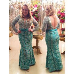 Wholesale New Arrival Plus Size Sexy Mermaid Formal Evening Dresses Sheer Back Arabic Dubai Kaftan Abayas Long Sleeves Beaded vestido De Festa