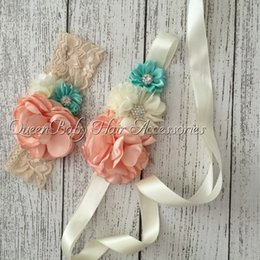 Wholesale Retail Nude Mint Sash Matching Baby Headband Vintage Inspired Flower Sash Queenbaby Headband Luxe Sash