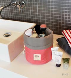 Wholesale 2015 New Arrival Barrel Shaped Travel Cosmetic Bag Nylon High Capacity Drawstring Elegant Drum Wash Bags Makeup Organizer Storage Bag cz