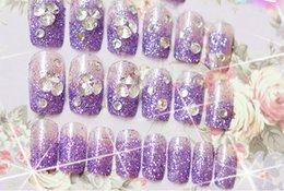 Wholesale Luxury French Rhinestone false nails glue on fingernails fashion Wedding party Beauty Fake Nail Art tips Stickers tools
