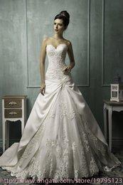 Wholesale 2015 Amelia Sposa Sweetheart Embroidery Lace Satin Chapel Train Lace Up Back Bridal Gowns Vestido De Noiva A Line Wedding Dresses AS1272