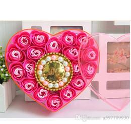 Wholesale Flower Soap Flower Crystal Love Bracelet Heart Shaped Box Flower Soap Valentine s Day Mother s Day Christmas Gift Fre