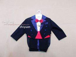 Wholesale Boys Formal Occasion Black Black Color Tuxedo New Suits Coat Pants Red Tie Girdle Shirt real Image cheap Evening Dresses