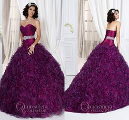 Wholesale 2015 quinceanera dresses custiomized sweetheart purple organza with crystal sash Ball gowns for girls prom gowns Debutante