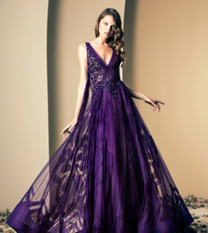 Wholesale 2015 Ziad Nakad Purple Print Prom Dresses Flowers V Neck Tulle Beaded Backless Evening Gown Sequins Sash Plus Size Floor Length Cheap Dress
