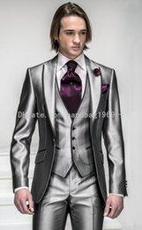 Wholesale Custom Made One Button Silver Grey Satin Groom Tuxedos Peak Lapel Best Man Groomsmen Mens Wedding Suits Jacket Pants Vest Tie AA619