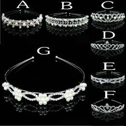 Wholesale 8 Styles Cheap Bridal Tiara Crystals And Pearls Beaded Bridal Head Accessories Formal Event Hair Wear Rhinestones