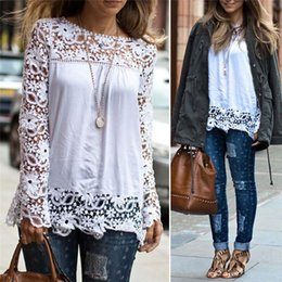 Wholesale New Arrivals Women Lady T Shirt Tops Blouse Lace Chiffon Long Sleeve Embroidery White Plus Size S XL DX163
