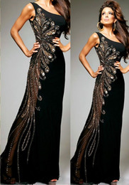 Wholesale New Fashion One Shoulder Black Prom Dresses Crystals Luxury Beading Peacock Feather Patterns Prom Dress Floor Length Chiffon Formal Dresses