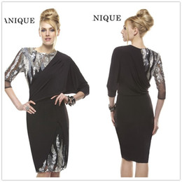 Wholesale 2016 Black Knee Length Sequins Cocktail Dresses Jewel Neck Full Sleeves Sheath Evening Gowns Cheap Best Selling Vintage Party Dress