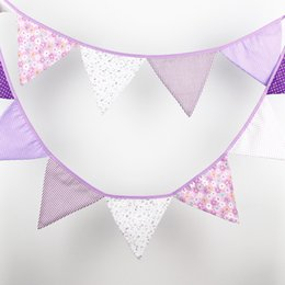 12 Flags - 3.2M Cotton Fabric Banners Personality Wedding Bunting Decor Purple Pink tune Boy Party Birthday Baby Shower Garland Decoration