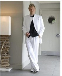 Wholesale White Mens Suits For Wedding Stand Collar Grooms Tuxedos Three Piece Mens Suits Slim Fit Groomsmen Suit Three Button