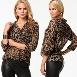 Wholesale 2015 Sexy Women Chiffon Shirt Leopard Print Semi sheer Blouse Long Sleeve Loose Casual Top Brown G0885