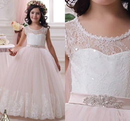 Wholesale 2016 lace tulle little girls pageant dresses Ball Gowns Scoop first communion dresses for girls wedding Occsion Flower Girl Dresses