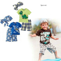 Wholesale SY new style child clothing set cartoon boy suit t shirt shorts colors summer kid clothes