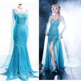 Wholesale Lady Princess Elsa Dress Queen Costume Adult Tulle Maxi Elsa Gown Fancy Dress for Adults