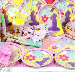 78pieces lot cute floral birthday party decoration for new born girl 6 people kids princess event party supplies home decoration kids birthday party - Party Decorations Cheap