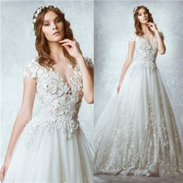 Wholesale Zuhair Murad Ball Gown Lace Appliques Beach Wedding Dresses With Crew Neckline Short Sleeve Sheer Back Sweep Train Bridal Gowns