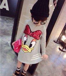 Wholesale 2015 New Korean Cartoon skirt dress children s clothing Autum long sleeve Dresses High quality