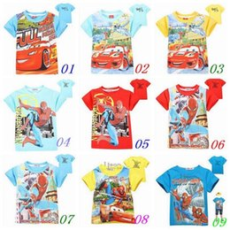 Wholesale 12pcs Fashion New kids T shirts McQueen Shirts spiderman kids shirts AAAA quality kids shirts children cartoon clothing