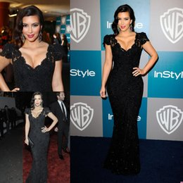 Wholesale Kim Kardashian Black Formal Evening Dresses Spring Mermaid V Neck Lace Long Prom Gowns Custom Made Short Sleeve