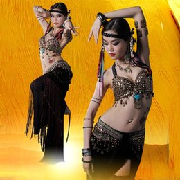 Wholesale Size S XL Belly Dancing Clothing Tribal Coins Bra Tassel Hip Scarf Long Tribal Pants Belly Dance Costume Set Performance