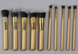 Wholesale one set Gold Face Makeup Brushes Set gold bars gold tube professional makeup brush sets make up tool