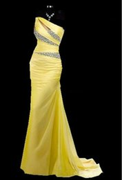 Wholesale In Stock Evening Dresses With Beads Sequins Purple Blue Red Yellow Chiffon Party Formal Ball Gown Prom Dresses