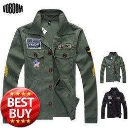 Wholesale New winter new hot mens jackets outwear men s coats casual fit Military style badges fashion jacket Green Black
