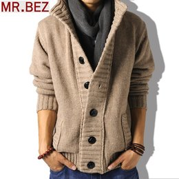 Wholesale 2014 hot men brand sweater real wool cotton men s jackets knitted thickening coat outwear high grade men s clothing
