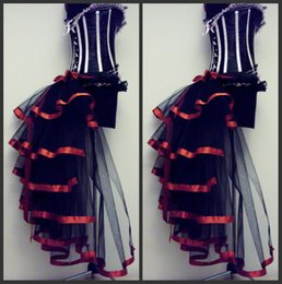 Wholesale Charming Color Matching Party Hallowmas Dresses Tulle Tiers Bodice Corset Back High Low Prom Costume Size Customize Black New Arrival LN